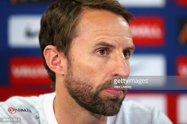 Gareth Southgate Manager of England speaks to the media during the England press conference at St Georges Park on June 6, 2018 in Burton-upon-Trent,...