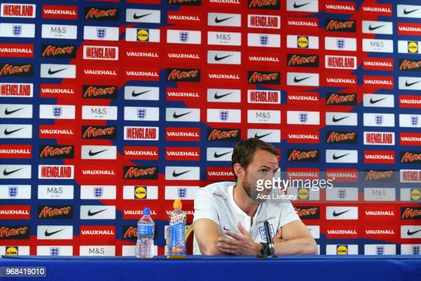 Gareth Southgate Manager of England speaks to the media during the England press conference at St Georges Park on June 6 2018 in BurtonuponTrent...
