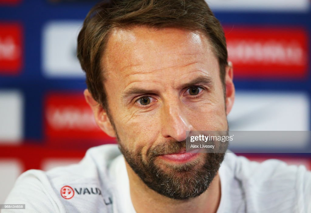Gareth Southgate Manager of England speaks to the media during the England press conference at St Georges Park on June 6, 2018 in Burton-upon-Trent, England.