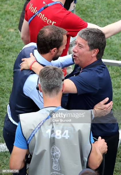Gareth Southgate Manager of England speaks with Hernan Gomez Manager of Panama following Panama's defeat in the 2018 FIFA World Cup Russia group G...