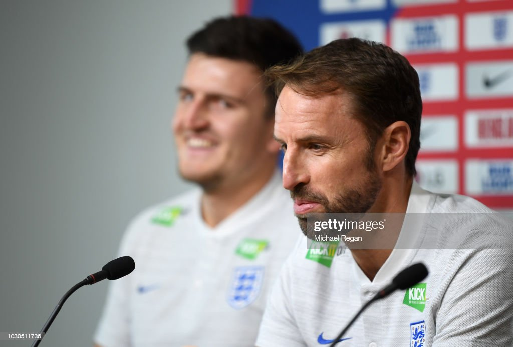 Gareth Southgate, Manager of England speaks with the media during a Press Conference at St Georges Park on September 10, 2018 in Burton-upon-Trent, England.