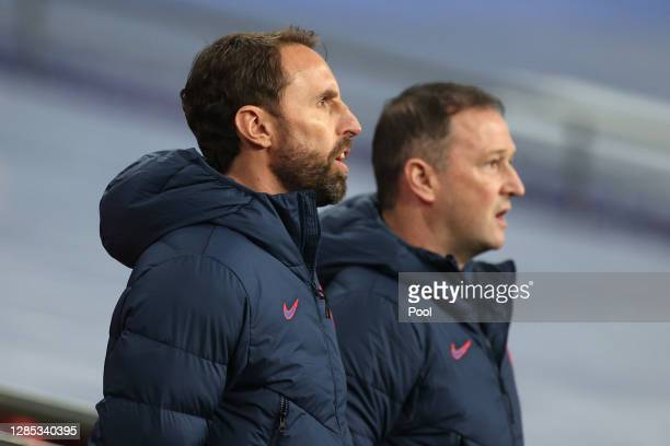 Gareth Southgate, Manager of England stands for the national anthem during the international friendly match between England and the Republic of...