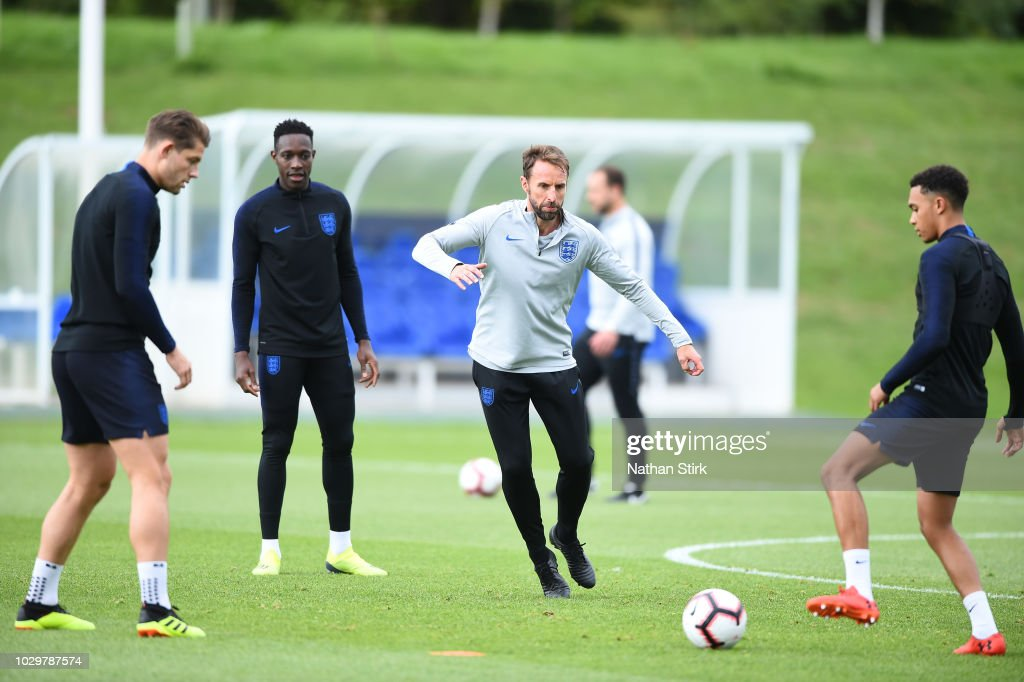 Gareth Southgate, manager of England takes part in a training session at St Georges Park on September 9, 2018 in Burton-upon-Trent, England.