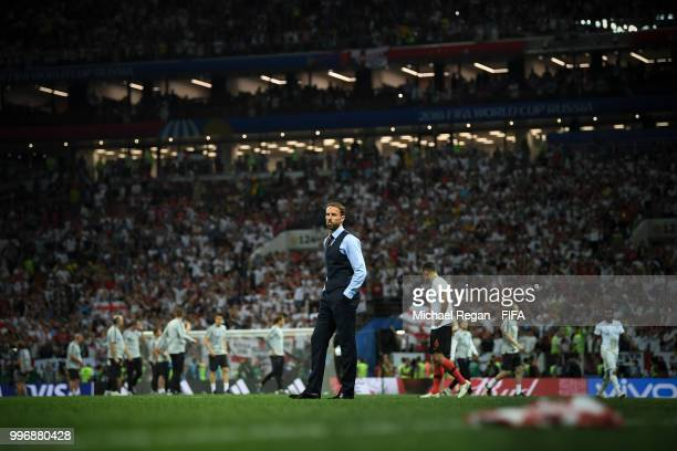 Gareth Southgate Manager of England walks off the pitch dejected following his team's defeat in the 2018 FIFA World Cup Russia Semi Final match...