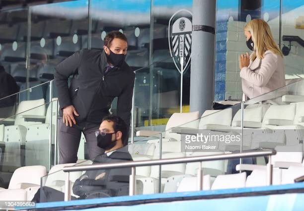 Gareth Southgate, Manager of the England international team looks on from the stands prior to the Premier League match between Leeds United and Aston...