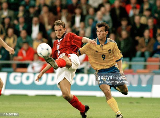 Gareth Southgate of England is challenged by Freddie Ljungberg of Sweden during a UEFA Euro 2000 Qualifying match at the Rasunda Stadium on September...