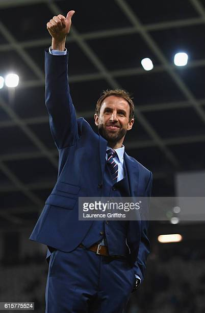 Gareth Southgate of England look on prior to the FIFA 2018 World Cup Qualifier between Slovenia and England at Stadion Stozice on October 11 2016 in...