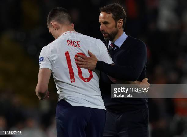 Gareth Southgate of England with Declan Rice of England and West Ham United FC at the end of the UEFA Nations League SemiFinal match between...
