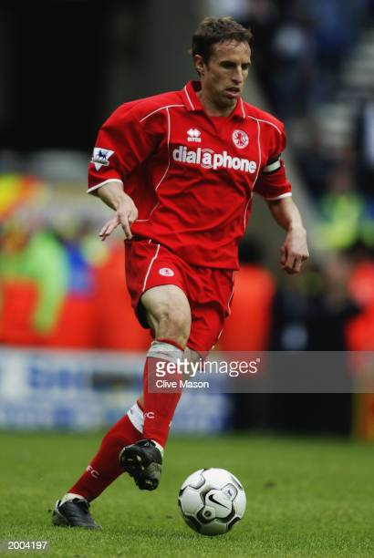 Gareth Southgate of Middlesbrough brings the ball out of defence during the FA Barclaycard Premiership match between Bolton Wanderers and...