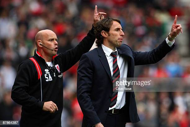 Gareth Southgate of Middlesbrough gives instruction during the Barclays Premier League match between Middlesbrough and Aston Villa at the Riverside...