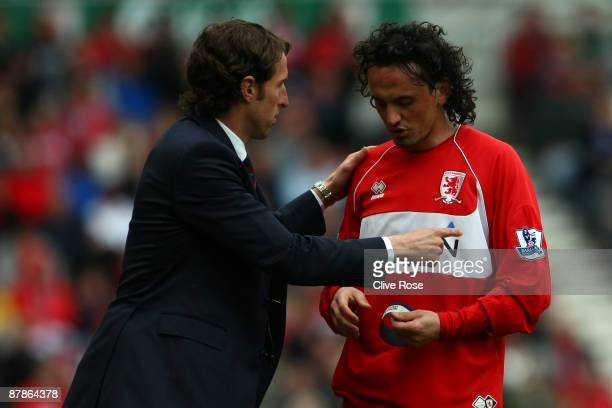 Gareth Southgate of Middlesbrough gives instructions to Tuncay Sanli during the Barclays Premier League match between Middlesbrough and Aston Villa...