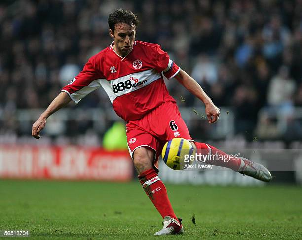 Gareth Southgate of Middlesbrough in action during the Barclays Premiership match between Newcastle United and Middlesbrough at St James' Park on...