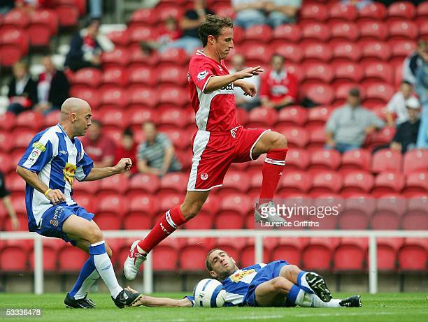 Gareth Southgate of Middlesbrough rides the tackle of Pablo Zabaleta of Espanyol during the Pre Season Friendly match between Middlesbrough and RCD...