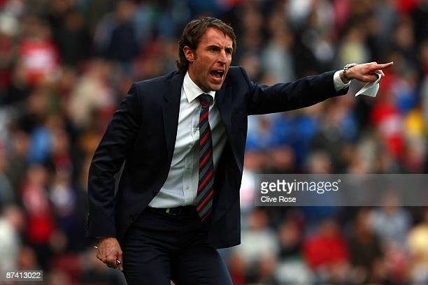 Gareth Southgate of Middlesbrough vents his frustration during the Barclays Premier League match between Middlesbrough and Aston Villa at the...
