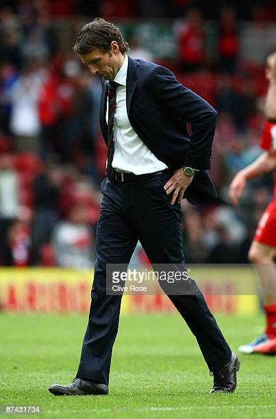 Gareth Southgate of Middlesbrough walks from the pitch after the Barclays Premier League match between Middlesbrough and Aston Villa at the Riverside...