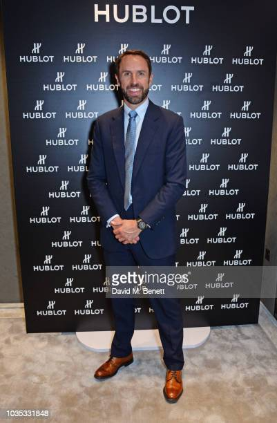 Gareth Southgate poses at the Hublot London flagship boutique opening on September 17 2018 in London United Kingdom