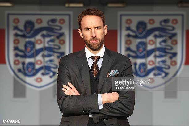 Gareth Southgate poses in front of the tunnel as he is unveiled as the new England manager at Wembley Stadium on December 1 2016 in London England