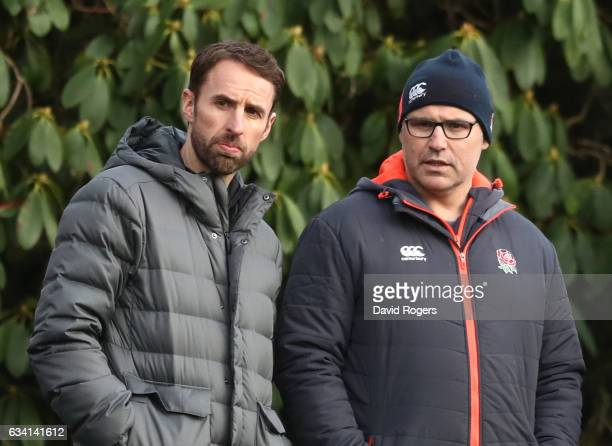 Gareth Southgate the England Football Team Manager chats with John Fletcher of the RFU during the England training session at Pennyhill Park on...