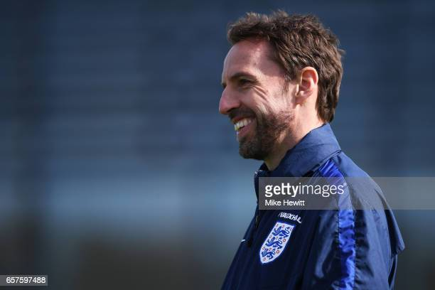 Gareth Southgate the England manager looks on during the England training session at the Tottenham Hotspur Training Centre on March 25 2017 in...
