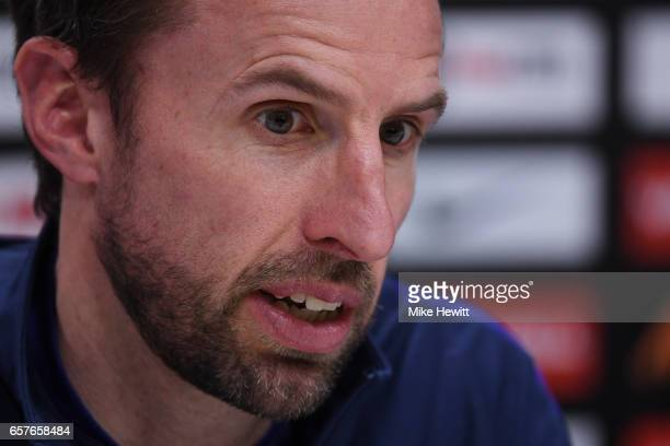 Gareth Southgate the England manager speaks to the media during the England press conference at the Tottenham Hotspur Training Centre on March 25...