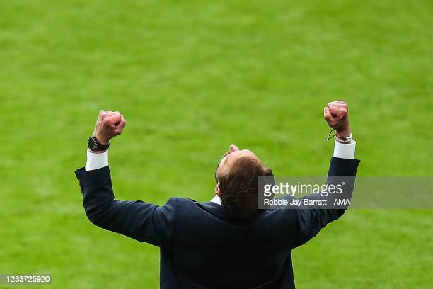 Gareth Southgate the head coach / manager of England celebrates at full time during the UEFA Euro 2020 Championship Round of 16 match between England...