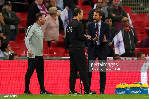 Gareth Southgate the head coach / manager of England reacts after a disallowed goal during the UEFA Nations League A group four match between England...