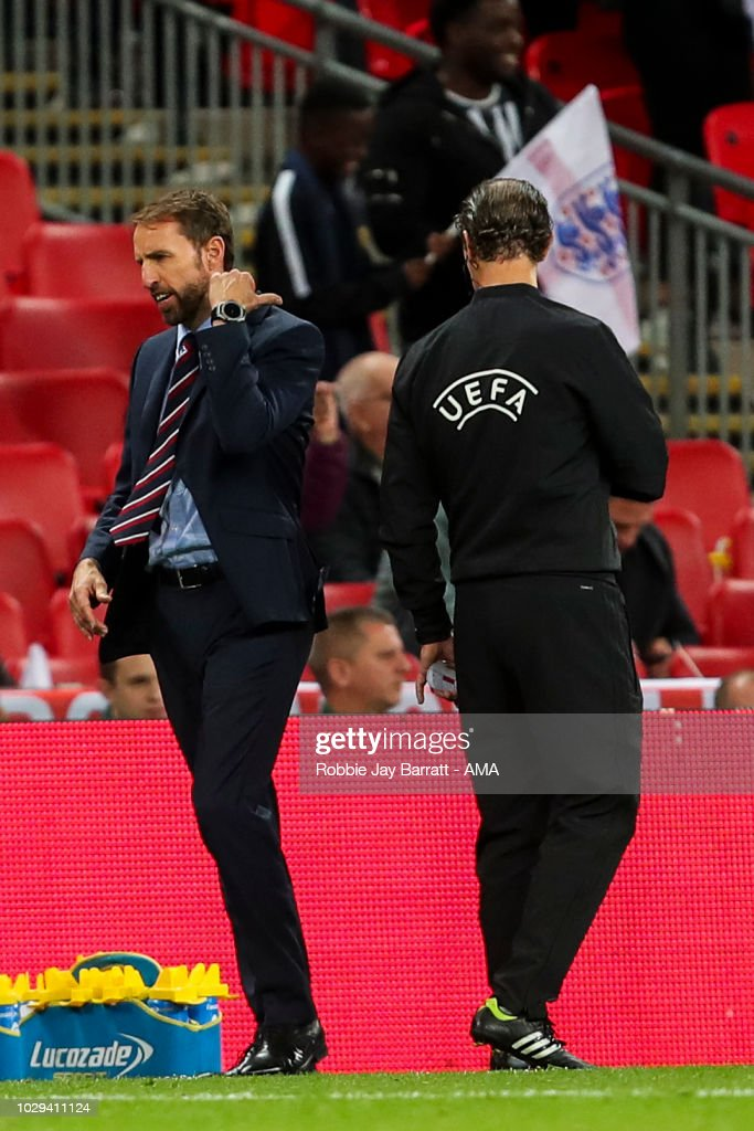 Gareth Southgate the head coach / manager of England reacts after a disallowed goal during the UEFA Nations League A group four match between England and Spain at Wembley Stadium on September 8, 2018 in London, United Kingdom.