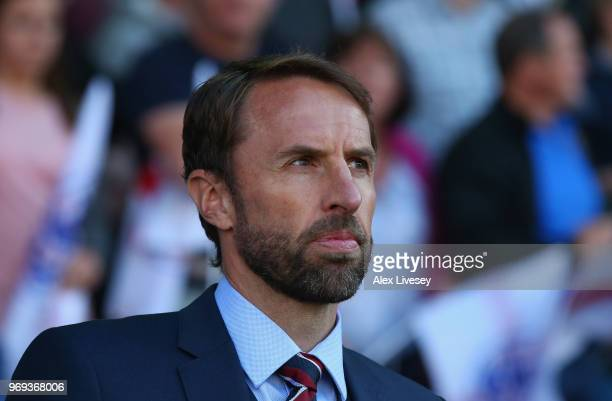 Gareth Southgate the manager of England looks on during the International friendly match between England and Costa Rica at Elland Road on June 7 2018...