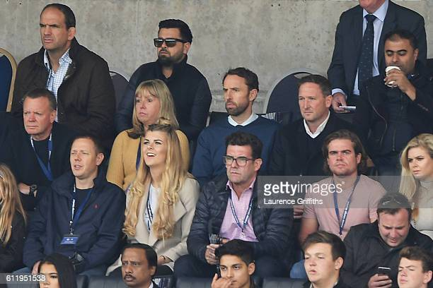Gareth Southgate watches the game from the stands during the Premier League match between Leicester City and Southampton at The King Power Stadium on...