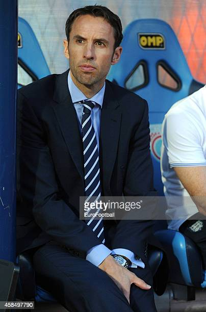 Gareth SouthgateHead Coach of England U21 looks on during the UEFA U21 Championship Playoff Second Leg match between Croatia and England at the...