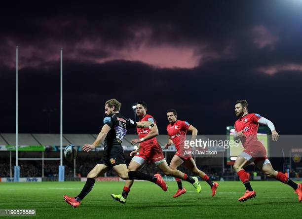 Gareth Steenson of Exeter Chiefs clears the ball during the Gallagher Premiership Rugby match between Exeter Chiefs and Saracens at Sandy Park...