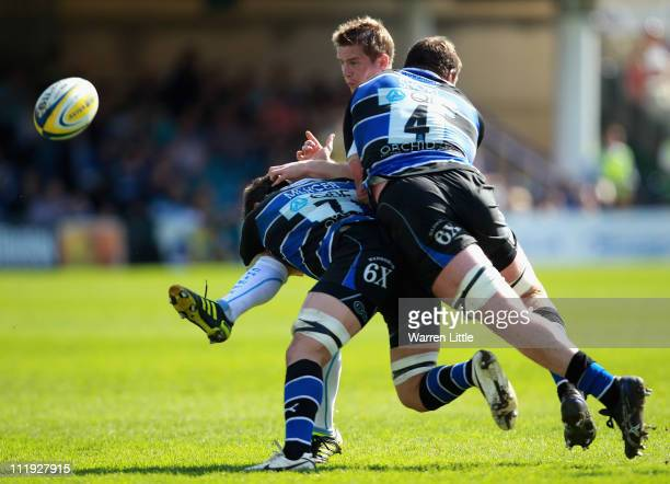 Gareth Steenson of Exeter Chiefs is tackled by Guy Mercer and Peter Short of Bath during the Aviva Premiership match between Bath Rugby Exeter Chiefs...