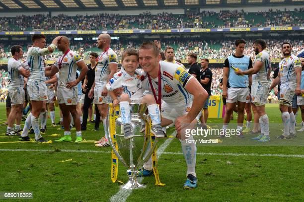 Gareth Steenson of Exeter Chiefs poses with the trophy after the Aviva Premiership Final between Wasps and Exeter Chiefs at Twickenham Stadium on May...