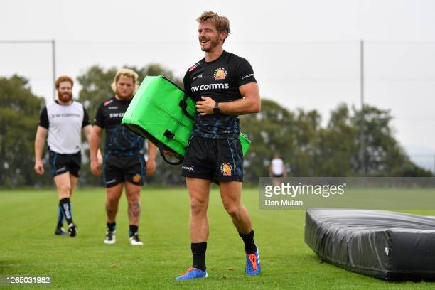 Gareth Steenson of Exeter Chiefs smiles during a training session ahead of the return of Premiership Rugby at Sandy Park on August 10, 2020 in...