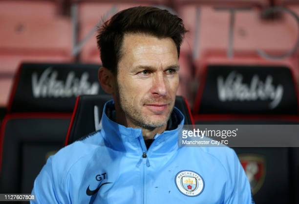 Gareth Taylor Head Coach of Manchester City looks on during the FA Youth Cup 6th Round match between AFC Bournemouth and Manchester City at Vitality...