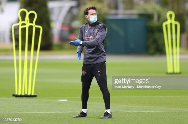 Gareth Taylor manager of Manchester City in action during a training session at Manchester City Football Academy on July 17 2020 in Manchester England