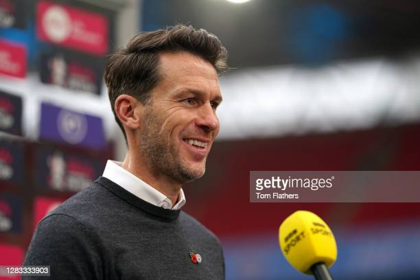 Gareth Taylor, Manager of Manchester City is interviewed prior to the Vitality Women's FA Cup Final match between Everton Women and Manchester City...
