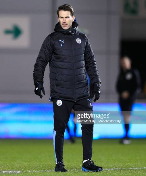 Gareth Taylor Manager of Manchester City looks on during the FA Youth Cup Sixth Round match between Manchester City and Burnley at The Academy...