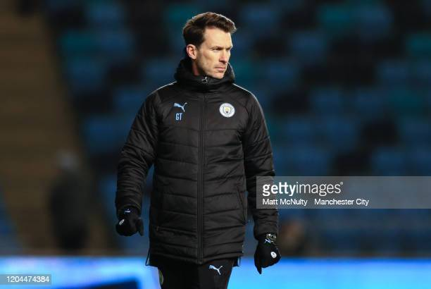 Gareth Taylor manager of Manchester City looks on during the Under 18's FA Youth Cup Fifth Round match at The Academy Stadium on February 06 2020 in...