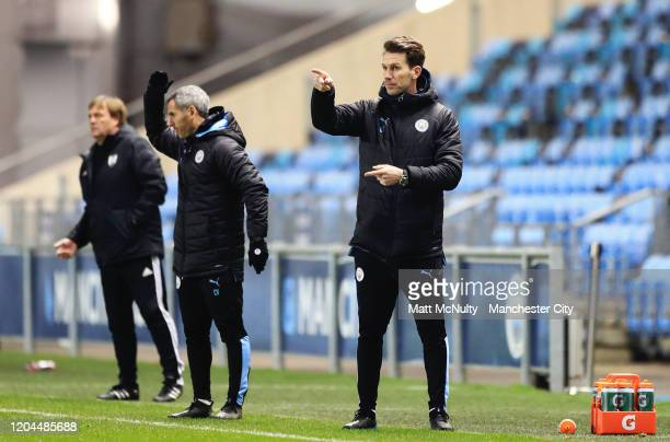 Gareth Taylor manager of Manchester City points during the Under 18's FA Youth Cup Fifth Round match at The Academy Stadium on February 06 2020 in...