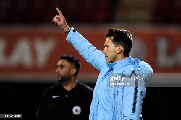 Gareth Taylor Manager of Manchester City U18 gives his team instructions during the friendly match between Brentford B and Manchester City U18 at...