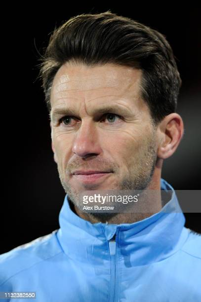 Gareth Taylor Manager of Manchester City U18 looks on after the FA Youth Cup Sixth Round Match between AFC Bournemouth U18 and Manchester City U18 at...