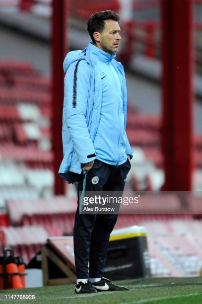 Gareth Taylor Manager of Manchester City U18 looks on during the friendly match between Brentford B and Manchester City U18 at Griffin Park on May 07...