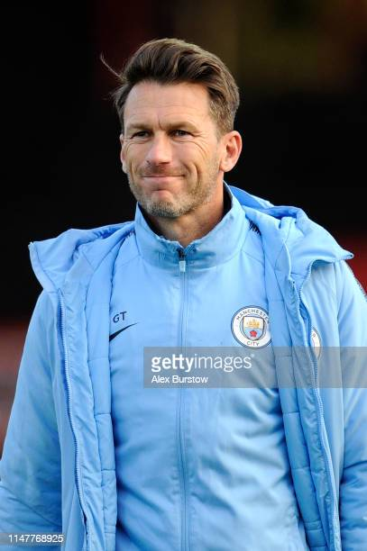Gareth Taylor Manager of Manchester City U18 looks on prior to the friendly match between Brentford B and Manchester City U18 at Griffin Park on May...