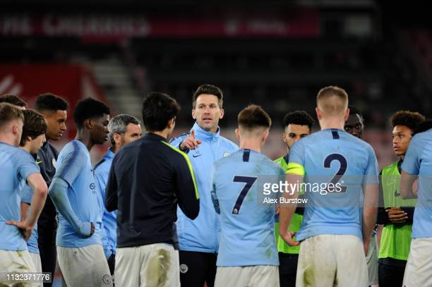 Gareth Taylor Manager of Manchester City U18 speaks to his team after the FA Youth Cup Sixth Round Match between AFC Bournemouth U18 and Manchester...