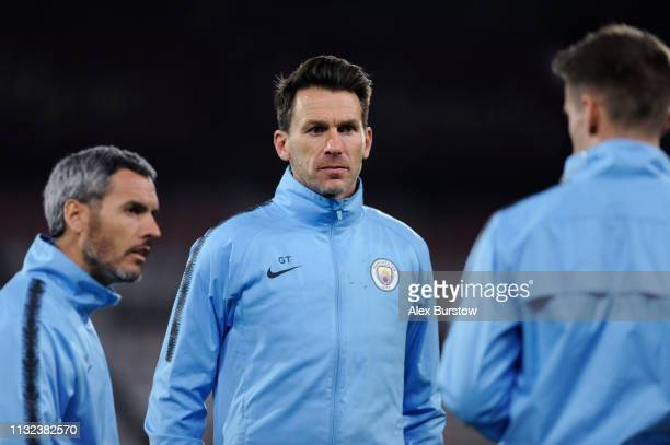 Gareth Taylor Manager of Manchester City U18 speaks with coaching staff after the FA Youth Cup Sixth Round Match between AFC Bournemouth U18 and...