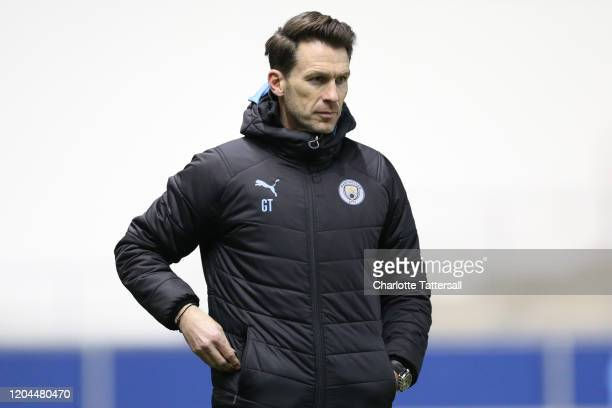 Gareth Taylor manager of Manchester City U18's reacts during the FA Youth Cup Fifth Round match between Manchester City and Fulham FC at The Academy...