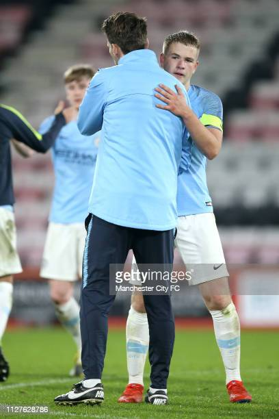 Gareth Taylor of Manchester City and Rowan McDonald celebrate victory after the FA Youth Cup 6th Round match between AFC Bournemouth and Manchester...