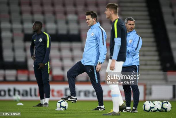 Gareth Taylor of Manchester City looks on as players warm up prior to the FA Youth Cup 6th Round match between AFC Bournemouth and Manchester City at...