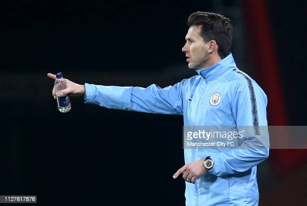Gareth Taylor of Manchester City signals during the FA Youth Cup 6th Round match between AFC Bournemouth and Manchester City at Vitality Stadium on...